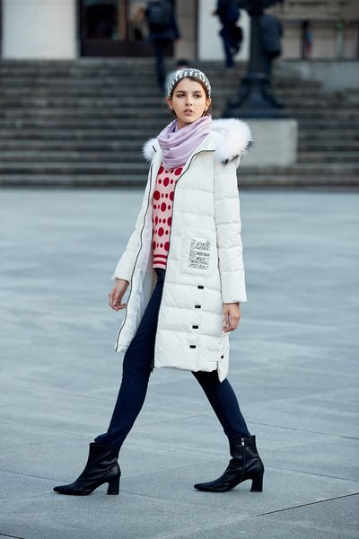 fur trim mid-length down coat