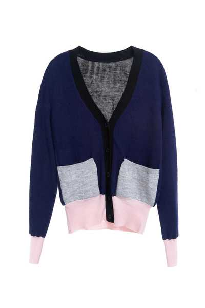 V-neck classic knitted long-sleeved jacket