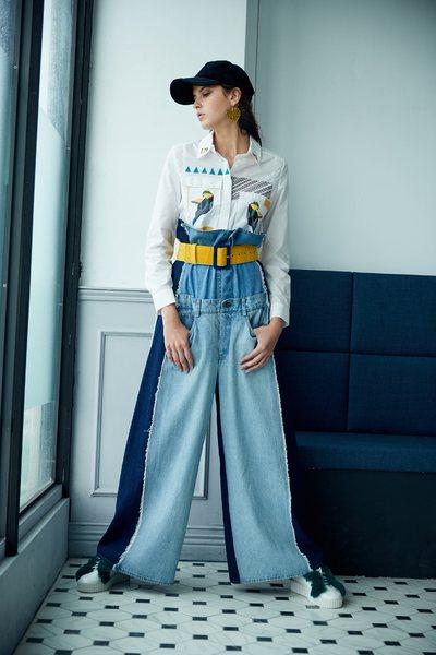 Designer Spliced Denim wide-leg pants