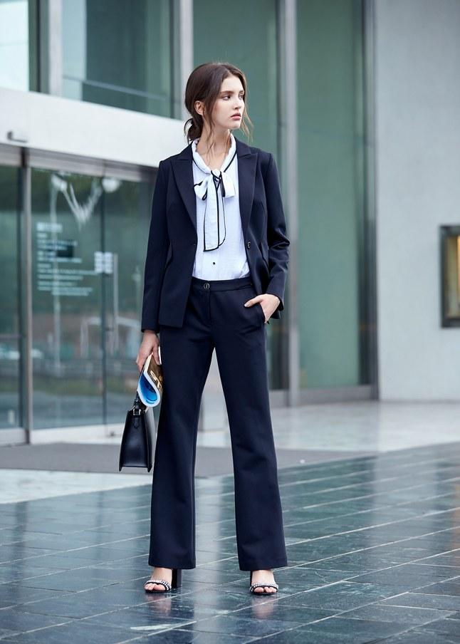 優雅剪裁設計長袖西裝外套