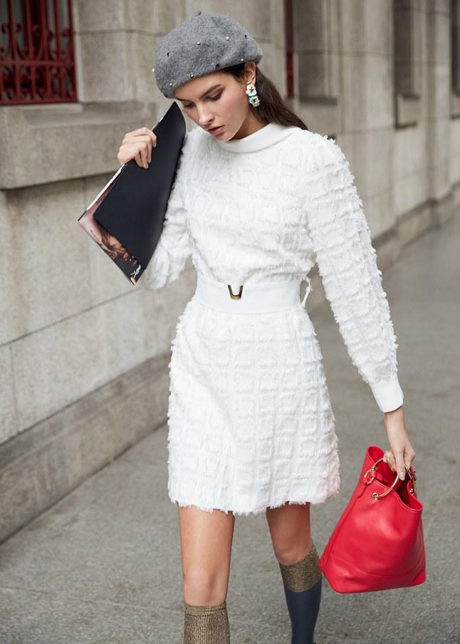 浪漫透膚時尚長袖洋裝