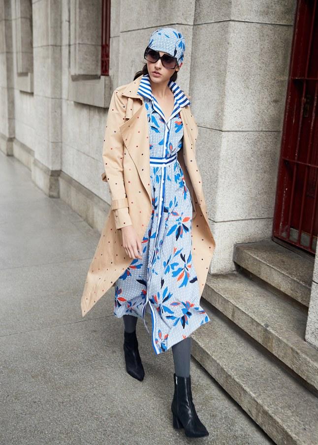 滿版花瓣雪紡長袖洋裝