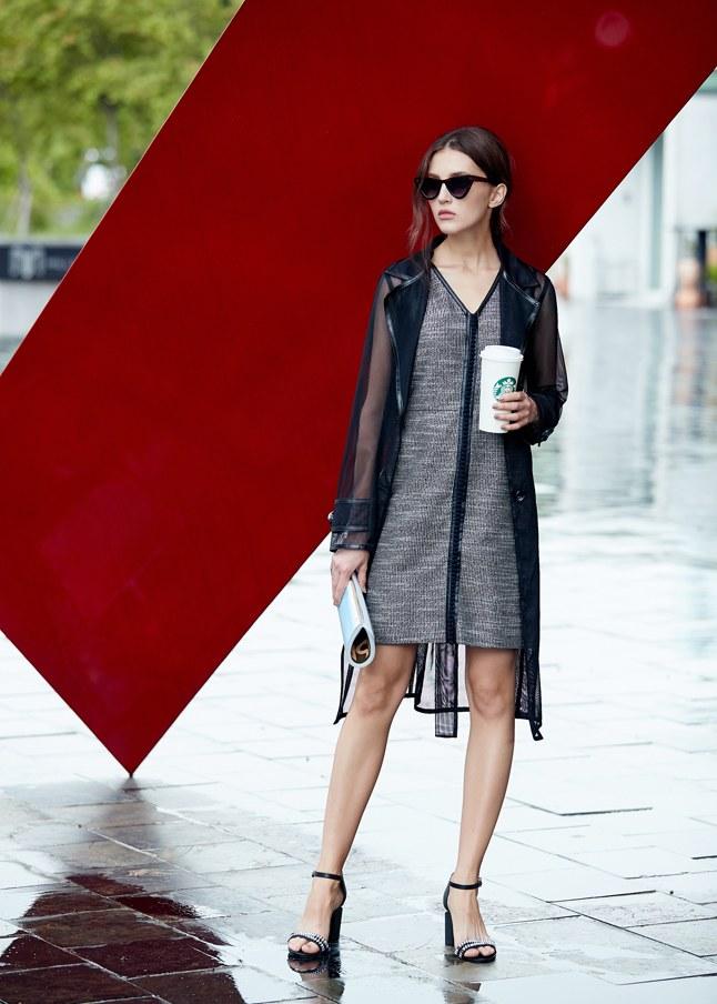 皮革滾邊流行洋裝