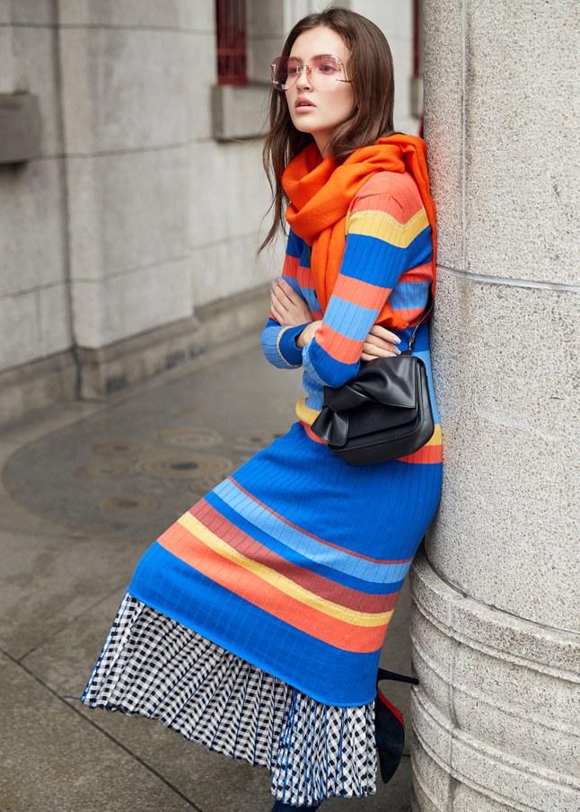 羅紋彩條針織長袖洋裝