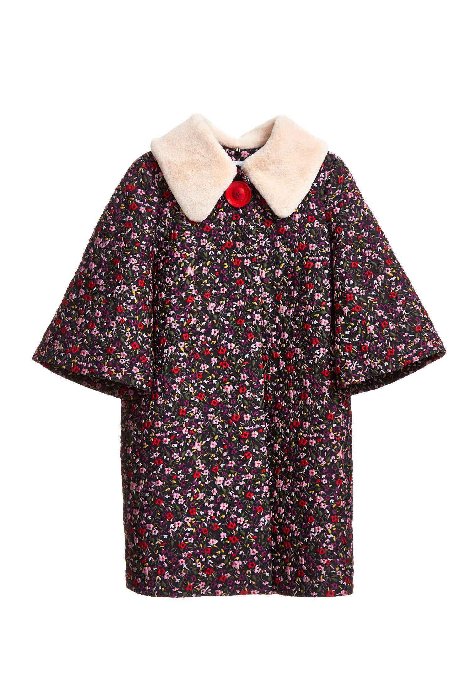 Retro floral totem elbow-length sleeve outwear jacket