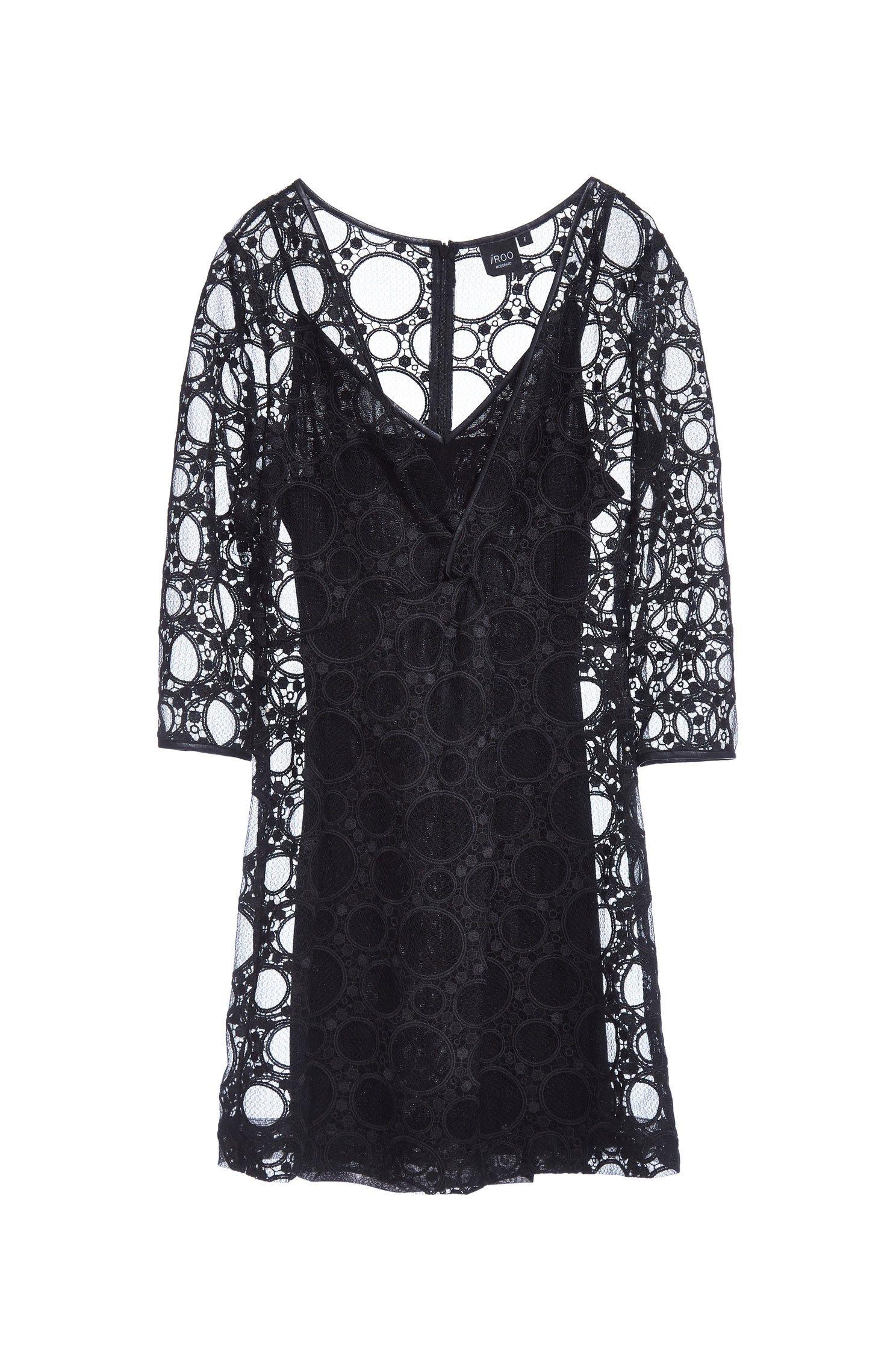 V-neck front kink party lace dress