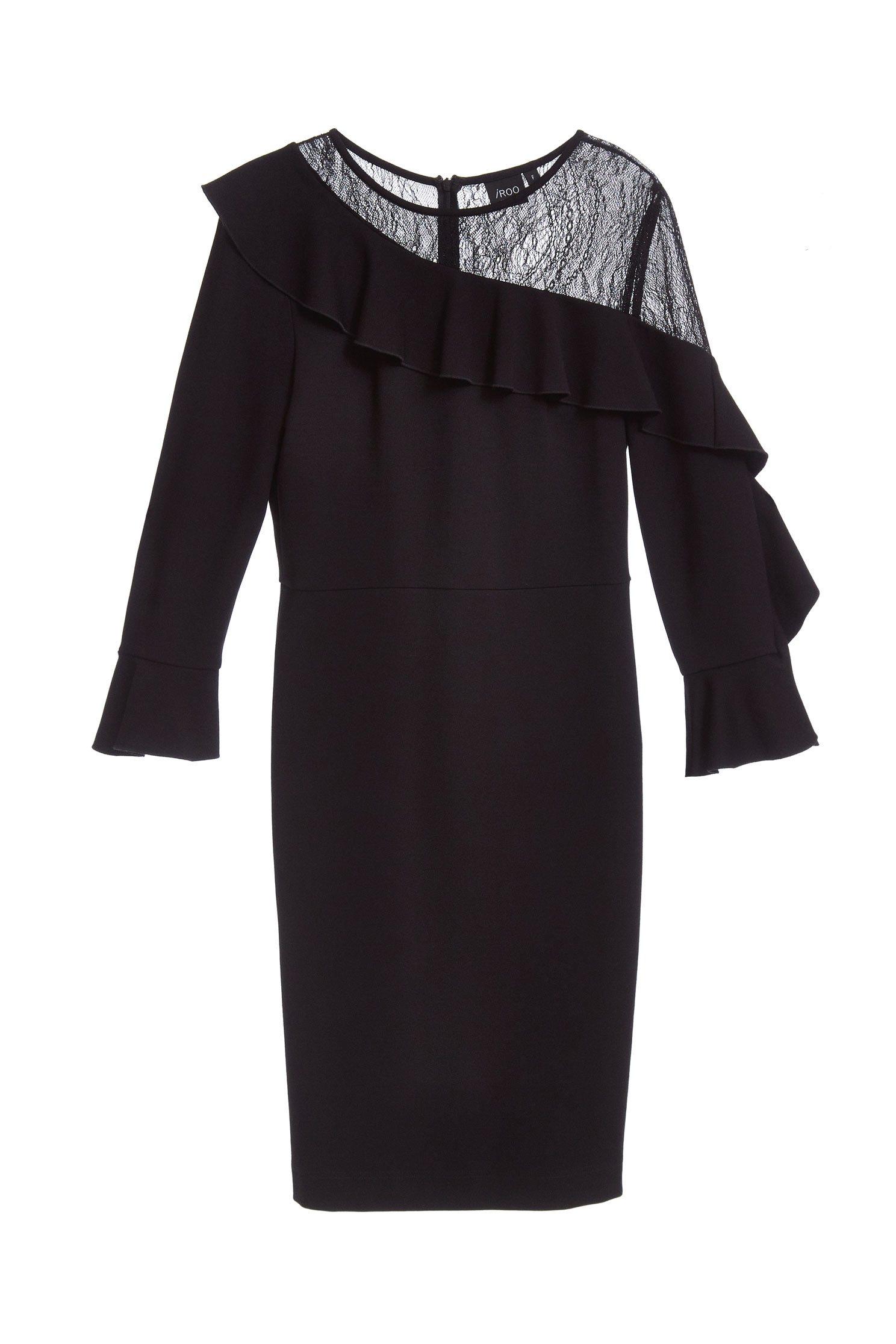 off-shoulder dress with lace trims