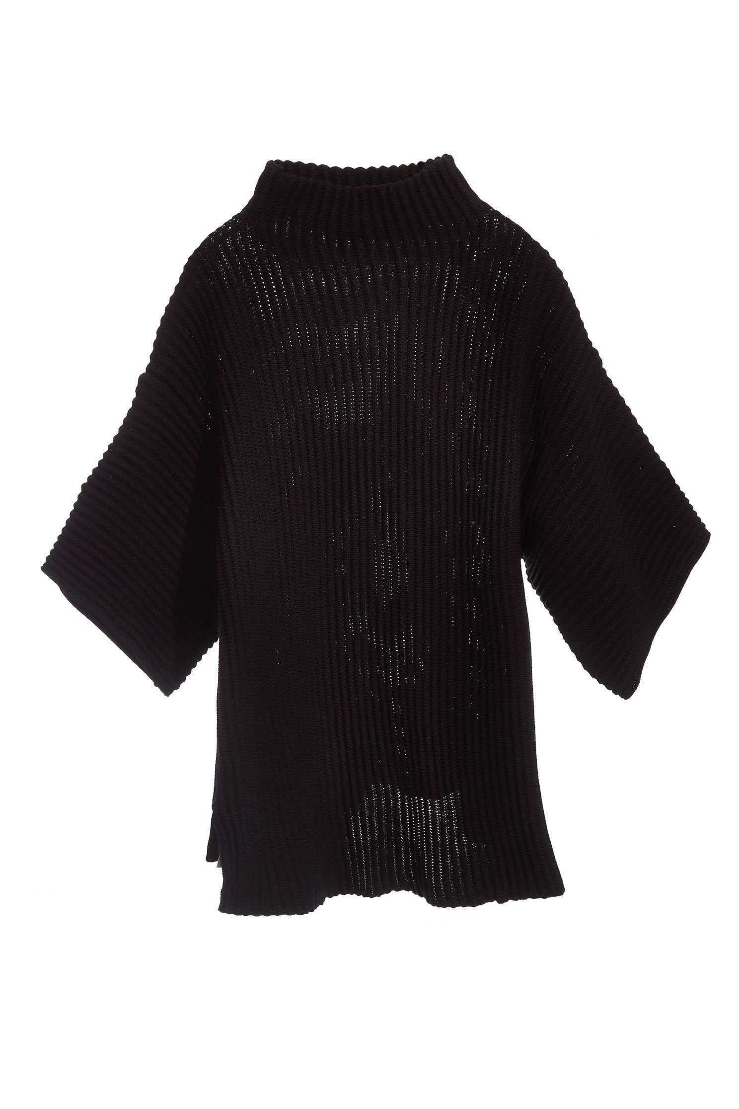 mid-high colla knit long sleeves sweater