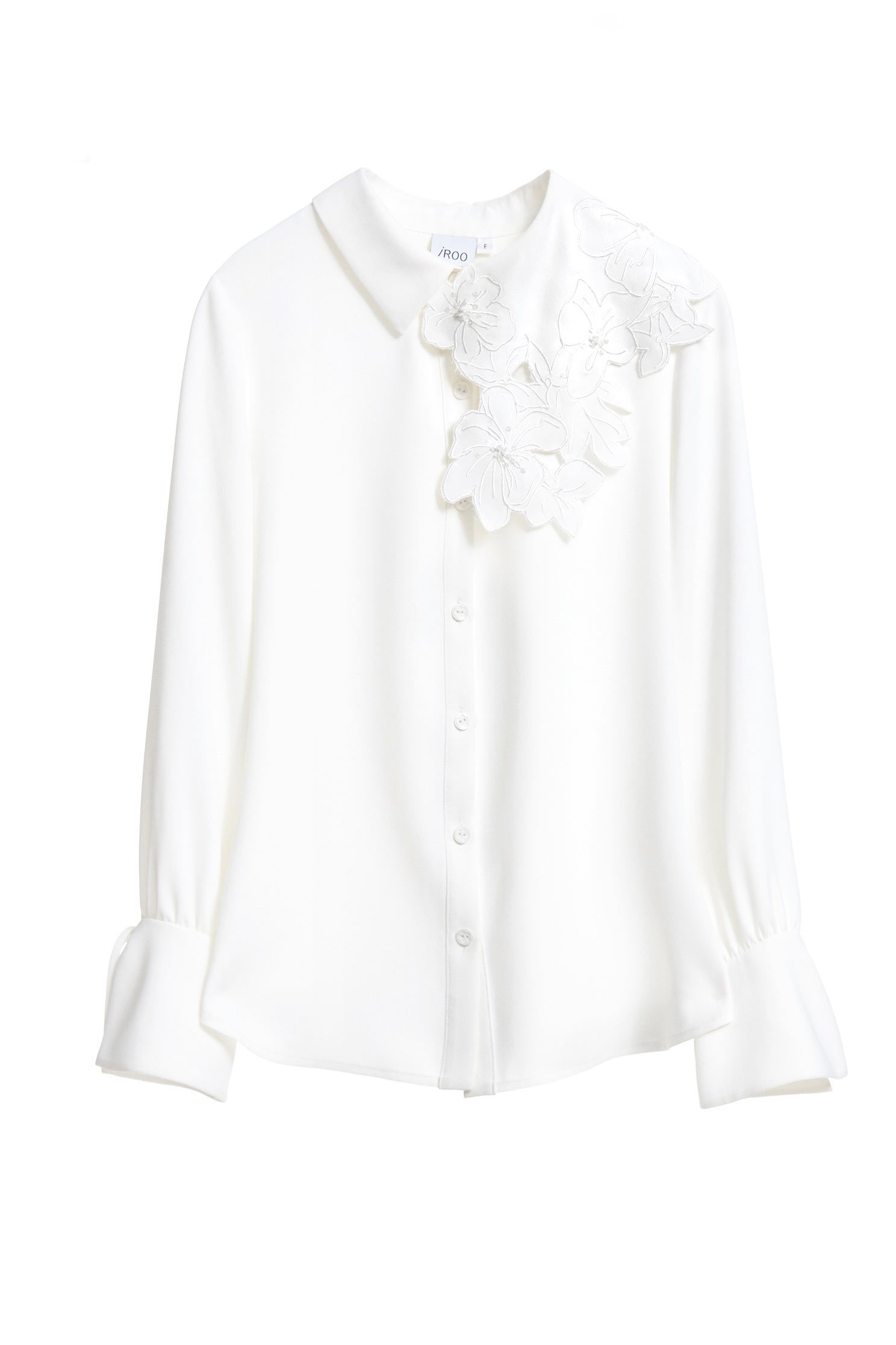 floral embroidered collared fashion blouse