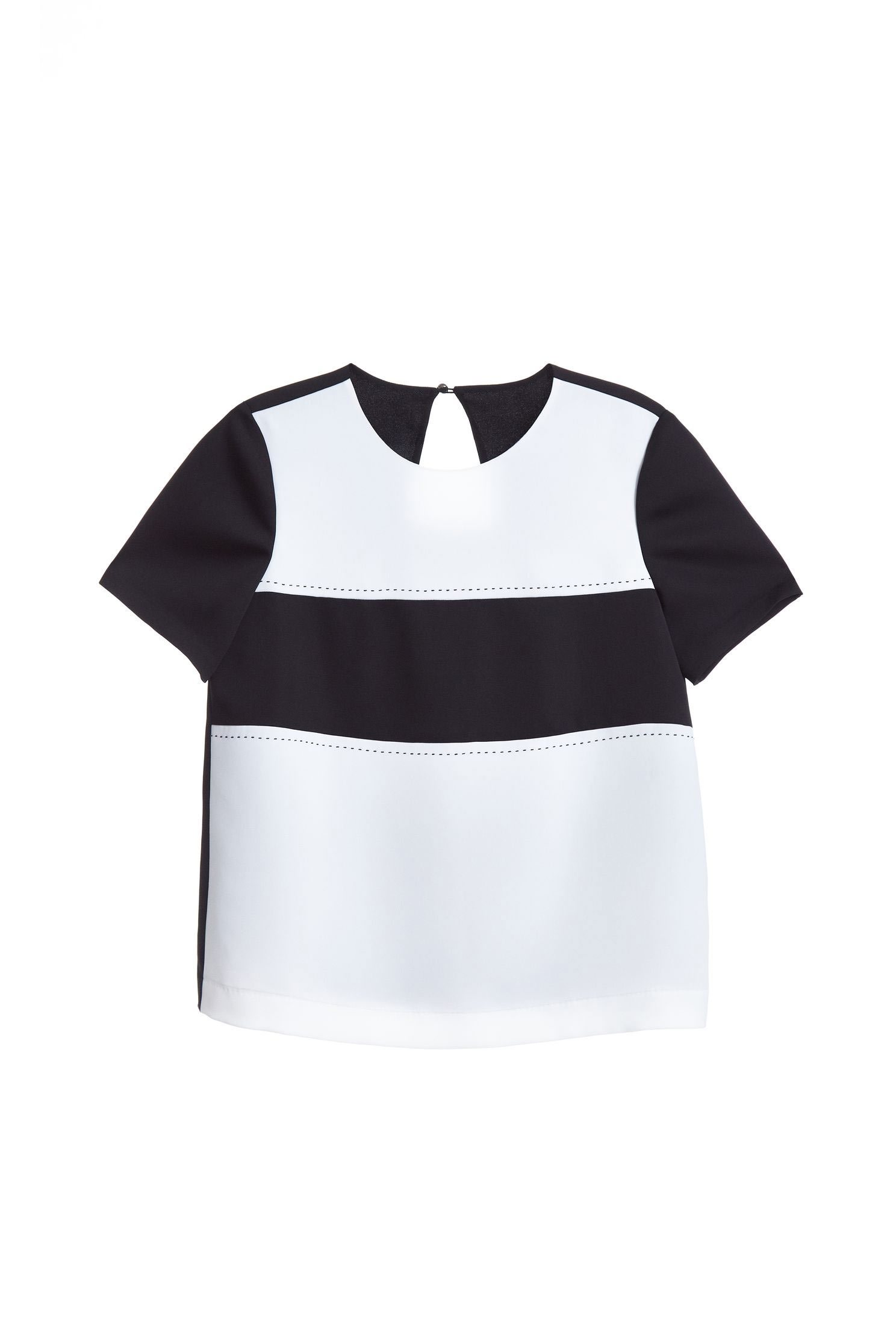 Stitching classic short-sleeved top