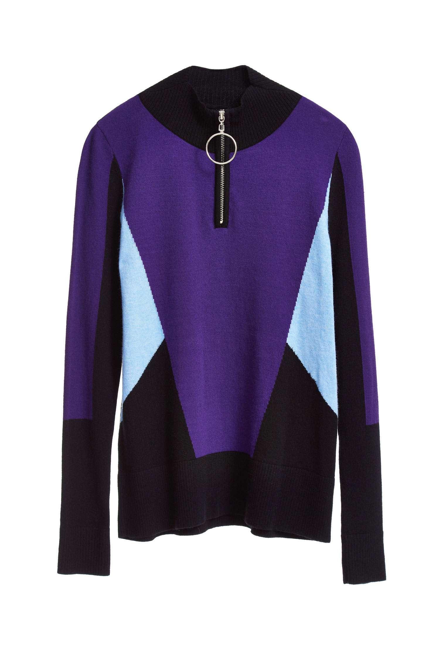 contrast color block knit sweater