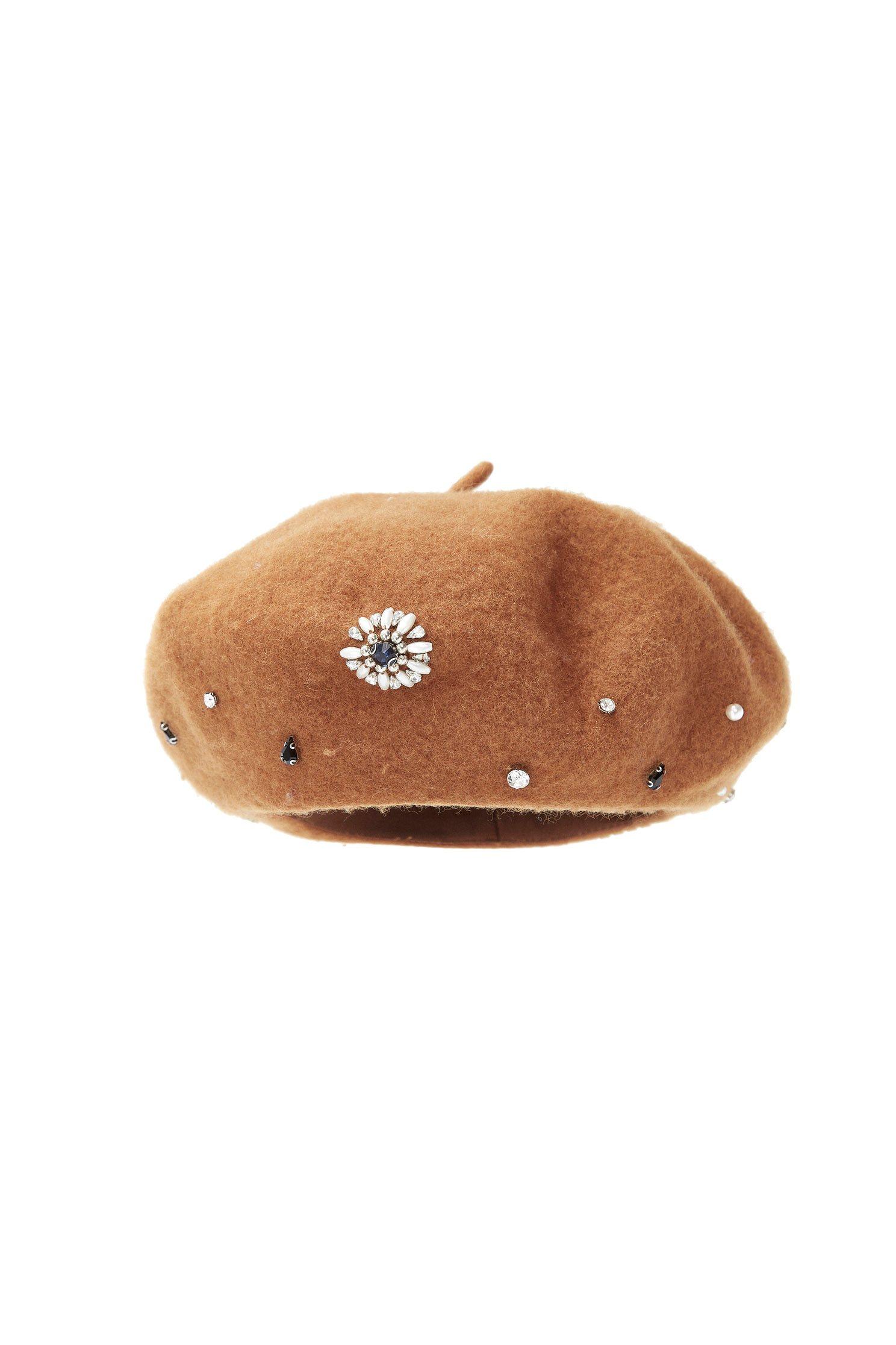 Faux Pearl Embellished Beret Hat