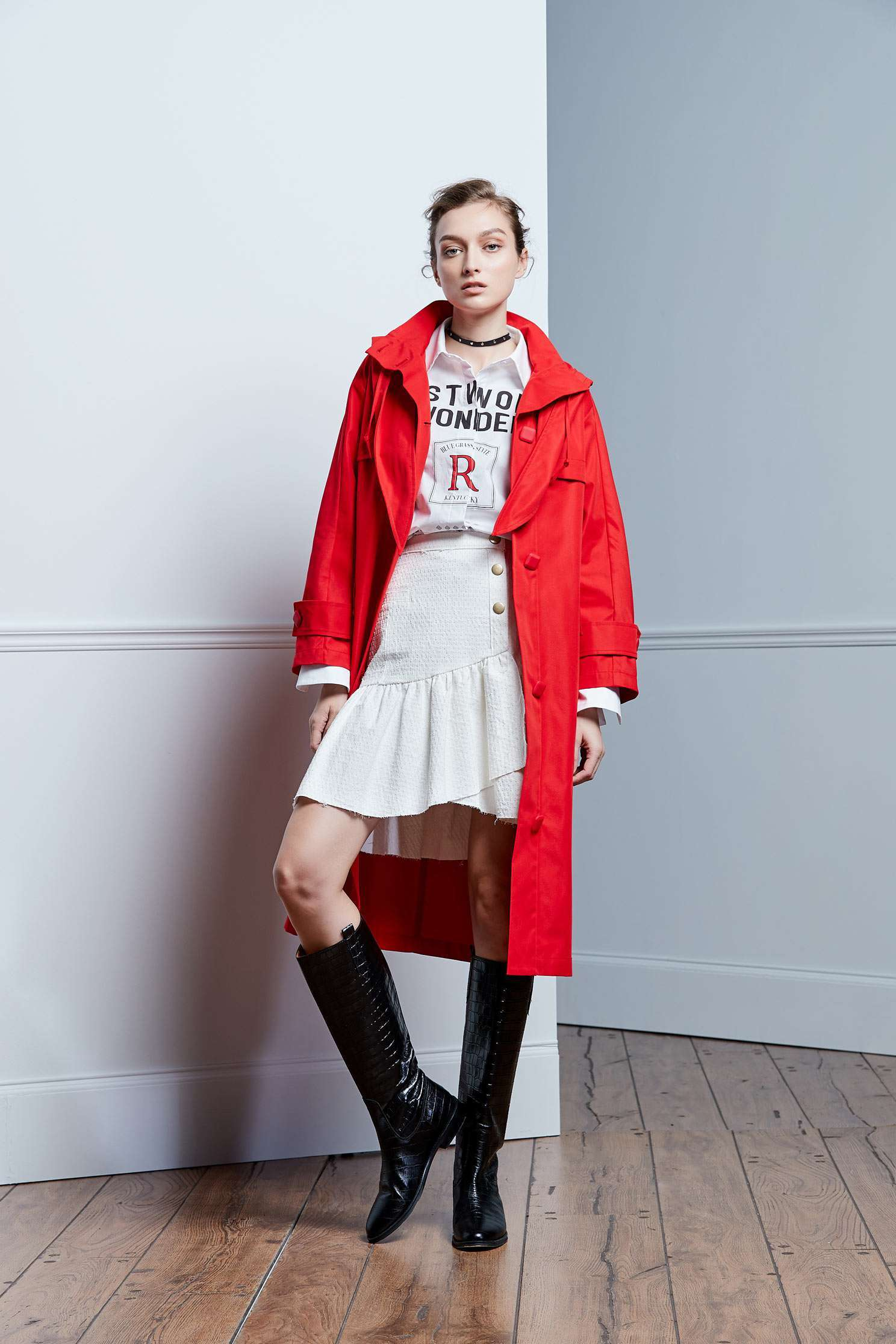 Lively  coral orange trench coat