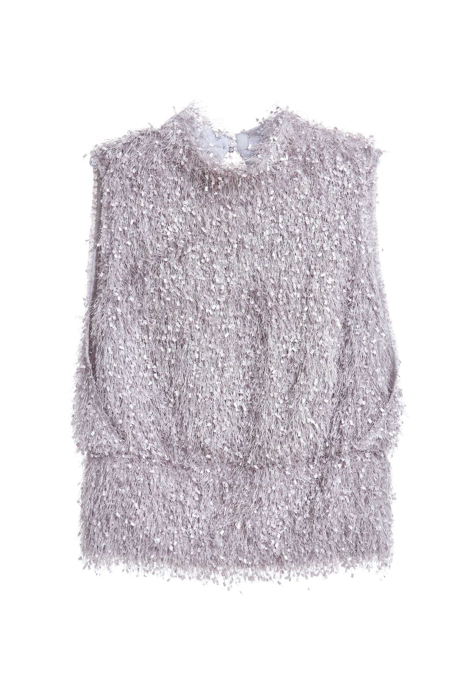 Vest with high collar in Mohair blend sweater