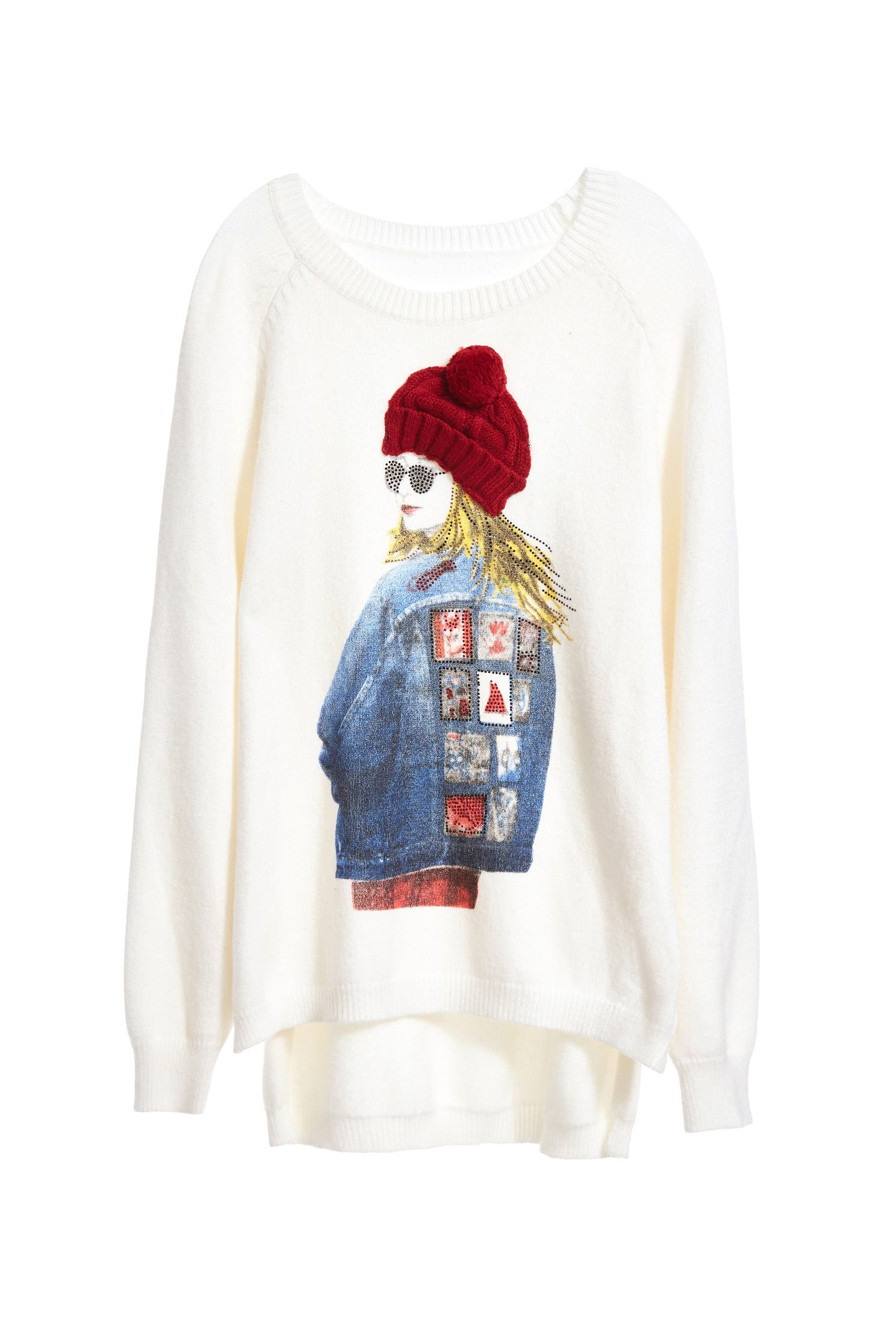 Long Sleeve  Girls Graphic Knit Top