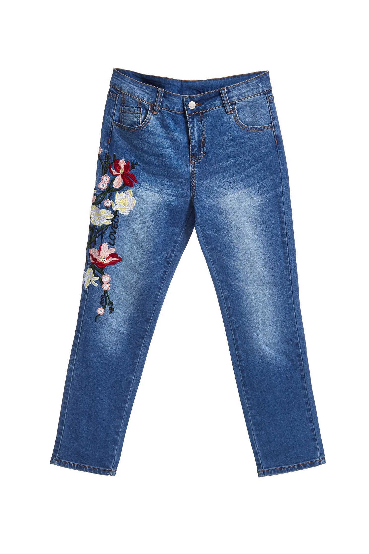Elegant embroidered denim cropped pants