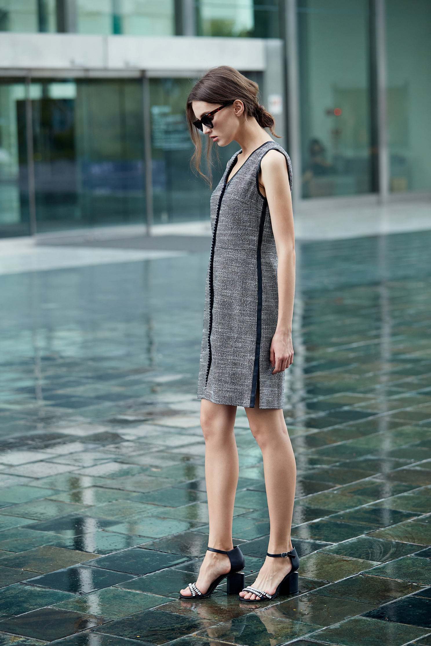 dress with faux leather trim