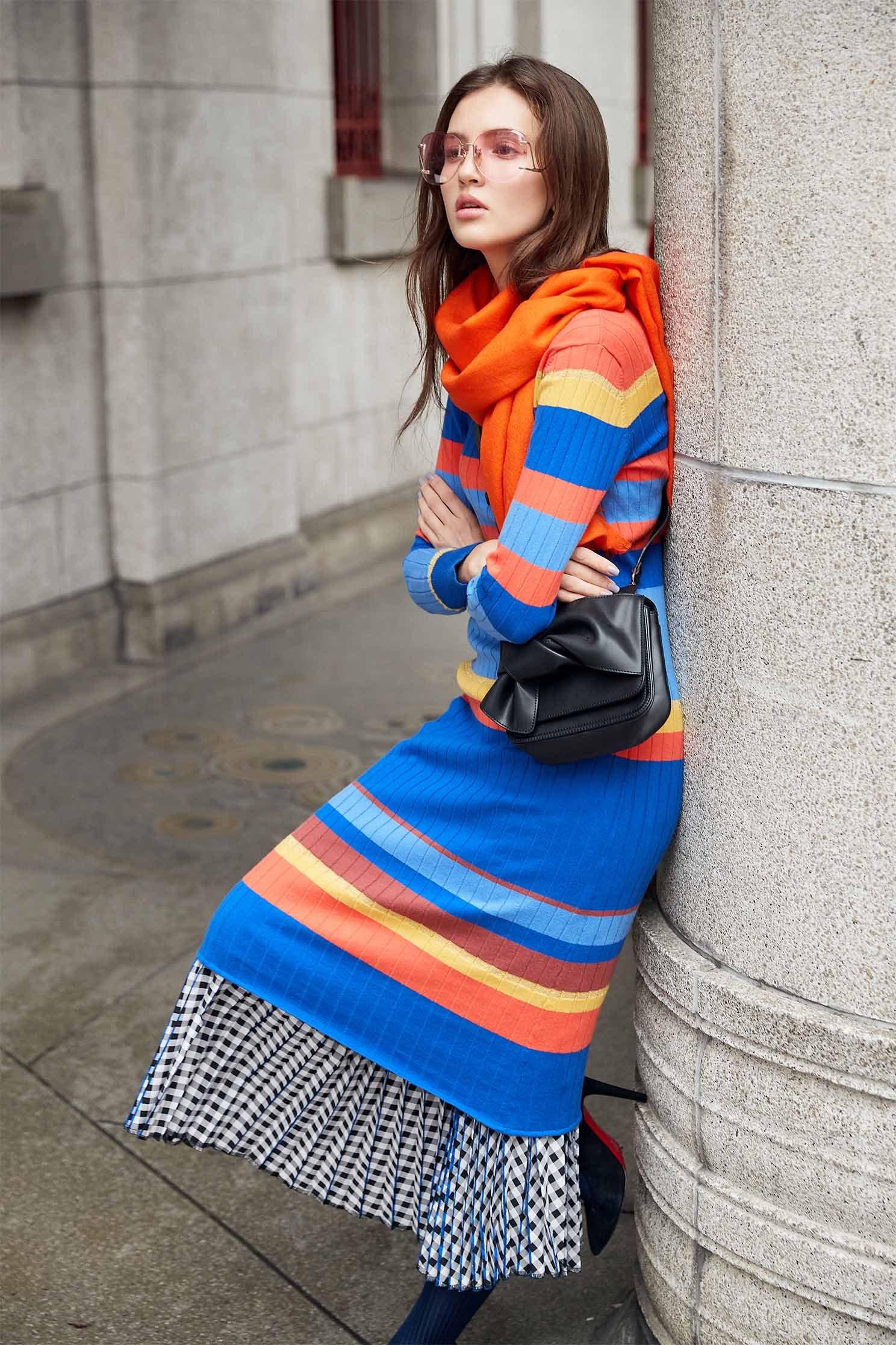Ribbed Stripe Knit  Dress
