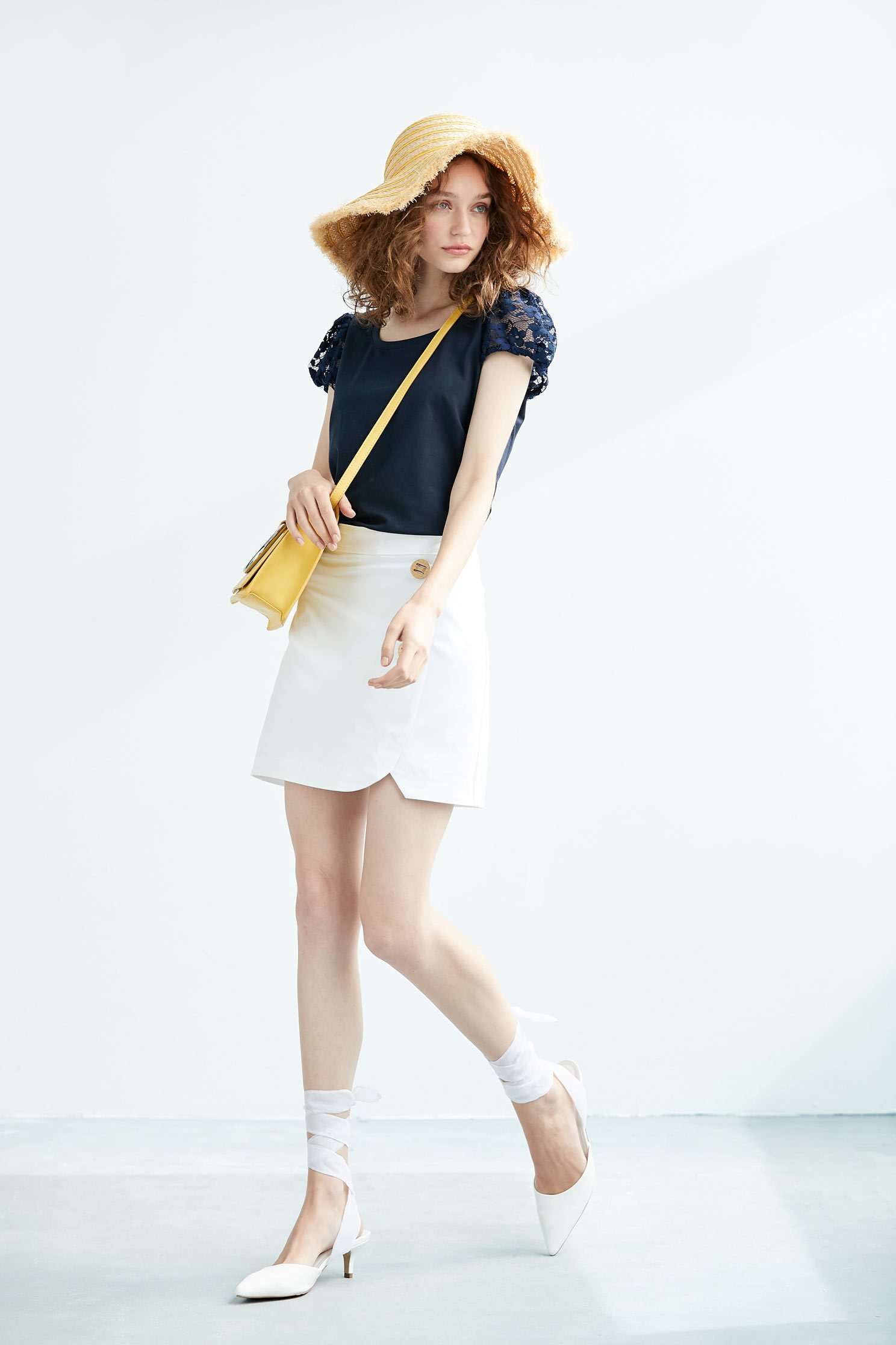 Lace sleeve fashion short-sleeved top