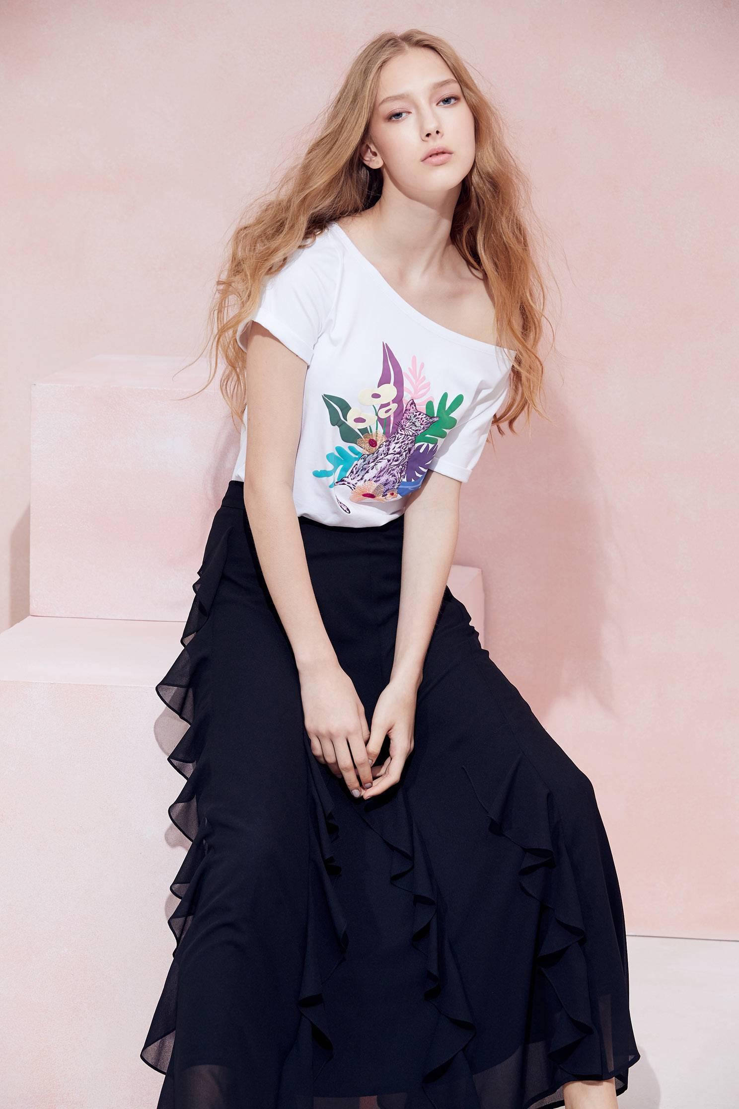 Floral cotton T-shirt