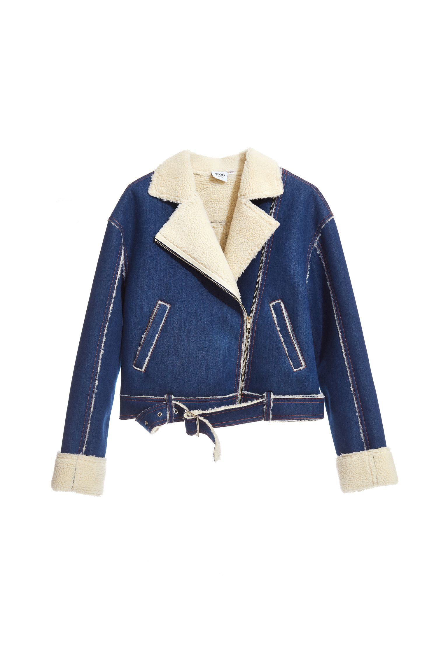 Faux Shearling-Trim Denim Jacket