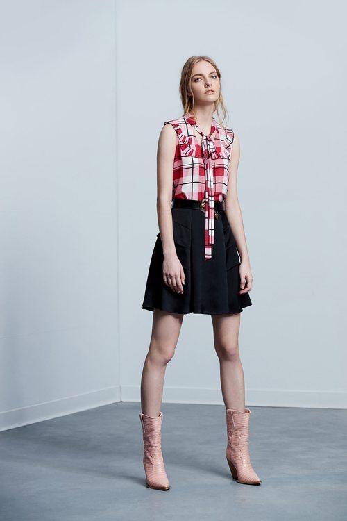 Ruffled Plaid Classic Design Sleeveless Vest