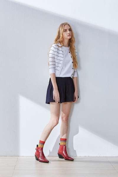 Horizontal striped knit coat