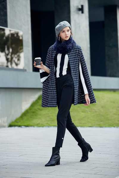 Navy blue england checkered long Sleeve blazer