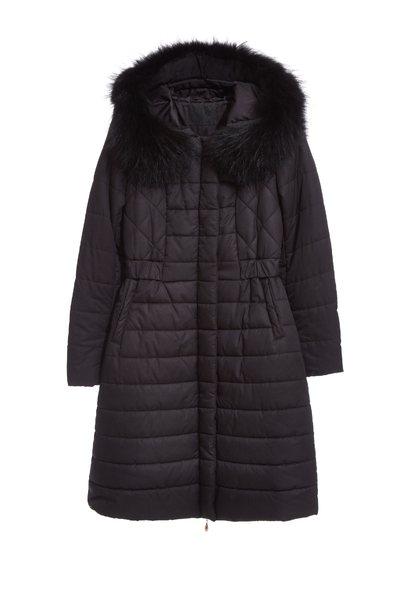 faux fur tirim collar coat jacket