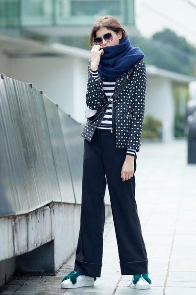 polka dots long sleeve jacket