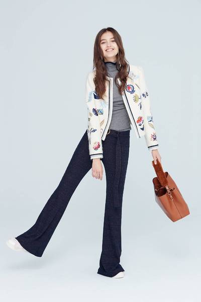 Forest embroidered classic knit coat