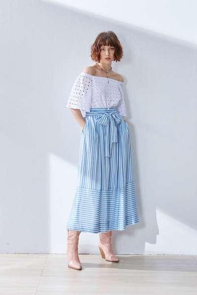Irregular stripe design skirt