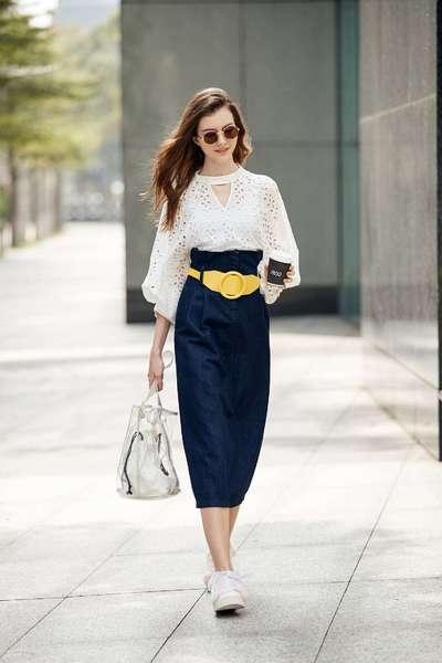 Temperament belt style skirt