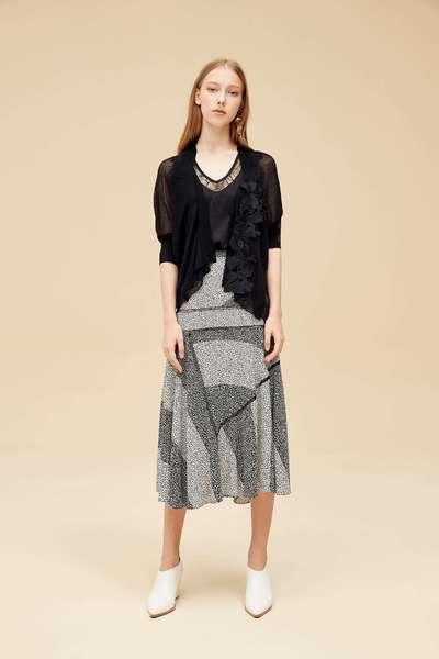 Irregular color block design skirt