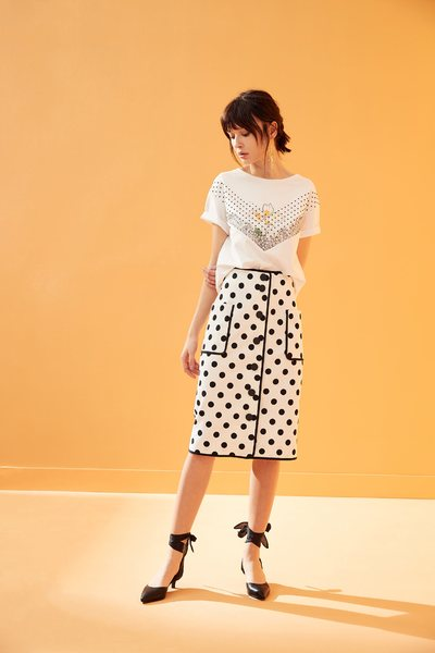 Vintage polka dot long skirt