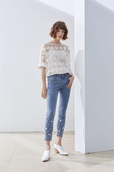 Decoration woman denim trousers