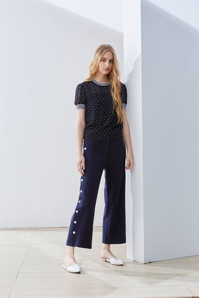 Side-breasted classic design trousers