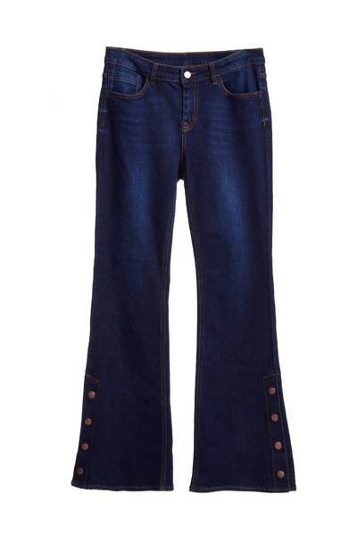 Classic jeans with buckle on the side