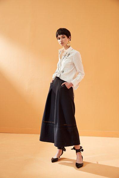 Draped fashion wide-leg pants