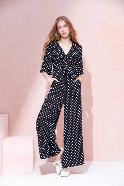 V-neck dot fashion  jumpsuit