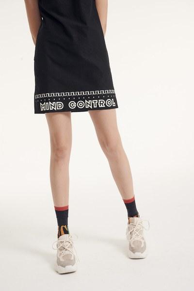One-piece slogan printing dress