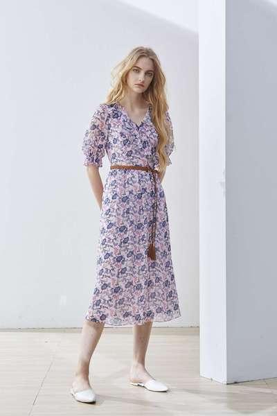 Romantic flower V-neck woman fashion dress