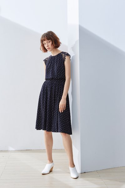 Elegant polka dot classic dress