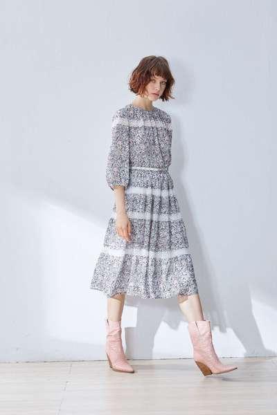 Floral waist design dress