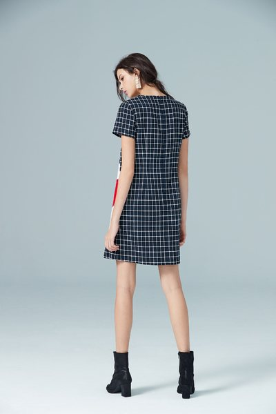 Navy blue england checkered dress
