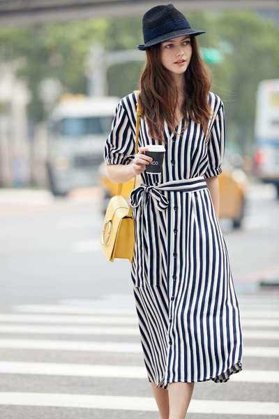 Color stripe design dress