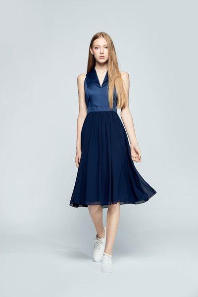 Elegant lapel design sleeveless dress