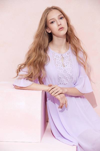 Romantic embroidered chiffon dress