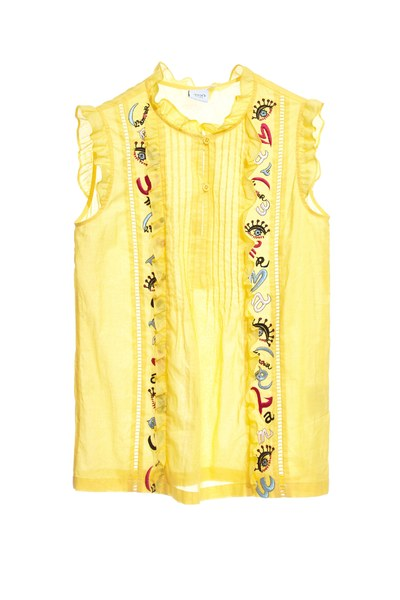 Lemon yellow top with ruffle trims