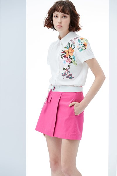 Embroidered floral fashion top